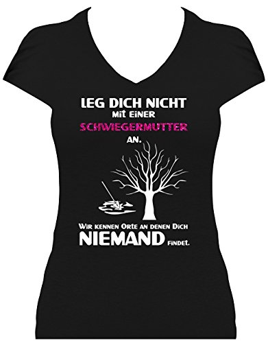 Damen Fun Shirt Spruch Leg Dich Nicht Mit Einer Schwiegermutter An Sprüche  GLITZERAUFDRUCK Schwiegermütter Leg Dich