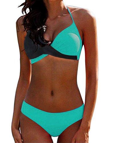 AHOOME Damen Bikini Push Up Gepolstert Streifen rayures Triangel Brasilianische Bademode Bikini-Sets(Blau-3,L)