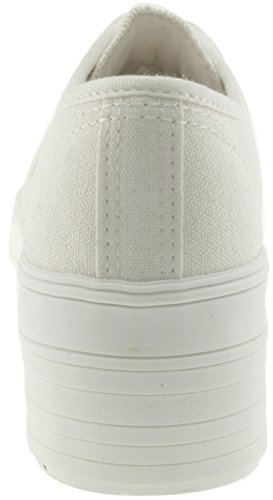 Maxstar C50 6 trous plate-forme basse table Trendy Chaussures-baskets Blanc - All-White