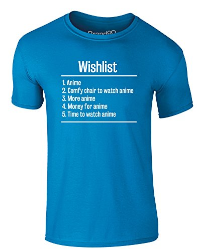 Brand88 - Wishlist: Anime, Erwachsene Gedrucktes T-Shirt Azurblau/Weiß