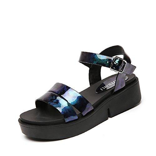 XY&GKDie Sandalen Frauen Sommer Studenten Sommer Ferse Ferse dicke flache Unterseite wasserdicht Plattform Frauen Sandalen, komfortabel und schön 39 blue