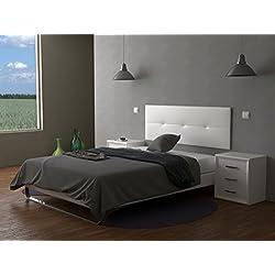 LA WEB DEL COLCHON Cabecero de cama tapizado acolchado Julie 160 x 55 cms. Para camas de 135, 140, 150 y 160 cms. Polipiel color Blanco. Incluye herrajes para colgar con regulador de altura