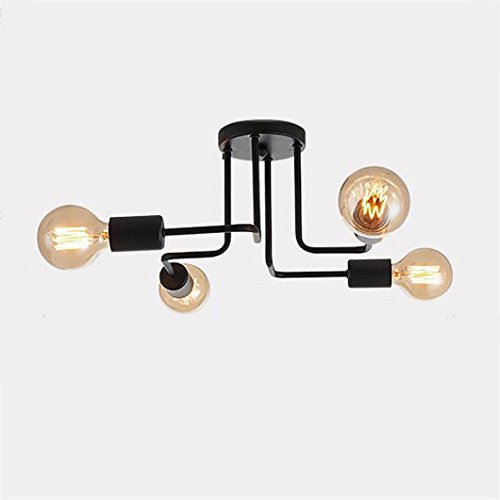 Modeen Army Industrial Deck/Deckenleuchte -4-46 Lampenhalter Schmiedeeisen Lampe Kronleuchter Pendelleuchte 8 Lampen Schuppen Villa Garage Beleuchtung Leuchten [Energieklasse A ++] (Size : 4heads)