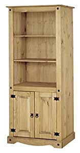 Corona 2 Door Bookcase Display Cabinet Unit, Mexican Solid Pine