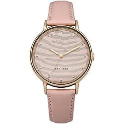 Fiorelli Women's Quartz Watch with Rose Gold Dial Analogue Display and Pink Leather Strap FO010CRG
