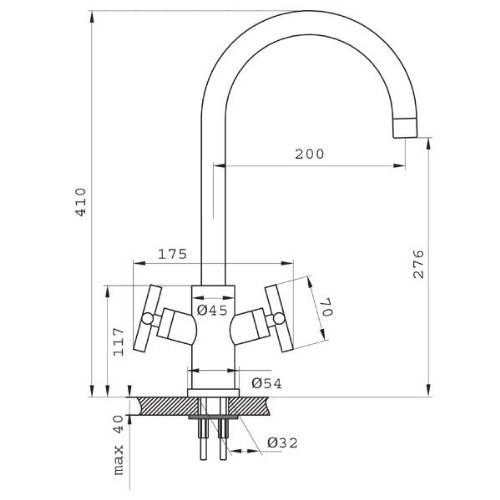 Edelstahlarmatur-Spültischarmatur-Zweigriffmischer-Zweigriffarmatur-Hochdruckarmatur-Livorno-BLI4 - 2
