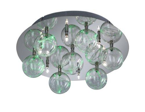 Action Deckenleuchte, 8-flammig, Serie Center, 6 x G4, 20 W, 1 x LED, 3 W, Höhe 14,5 cm, Durchmesser 40 cm, chrom 945408010000