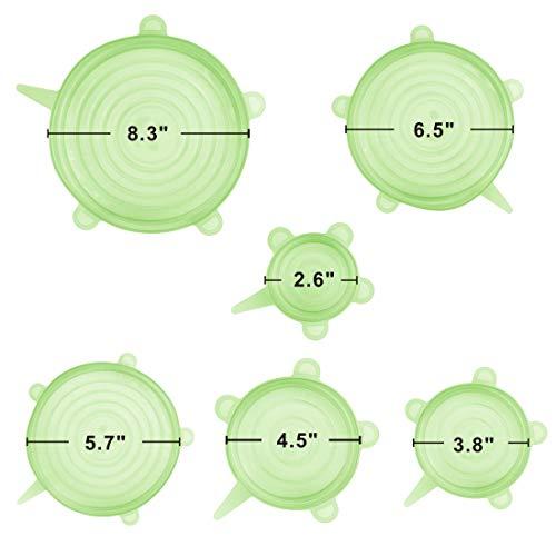 Idefair 6pz. silicone riutilizzabile coperchio contenitore ricopre mantenere il cibo fresco per contenitori bicchieri piatti microonde lavabile in lavastoviglie