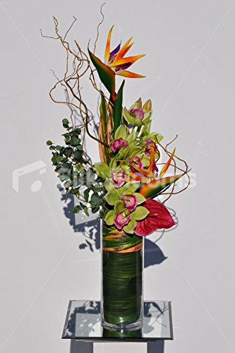 Künstliche orange Bird of Paradise Blumen-Arrangement w/Orchideen und Anthuriums