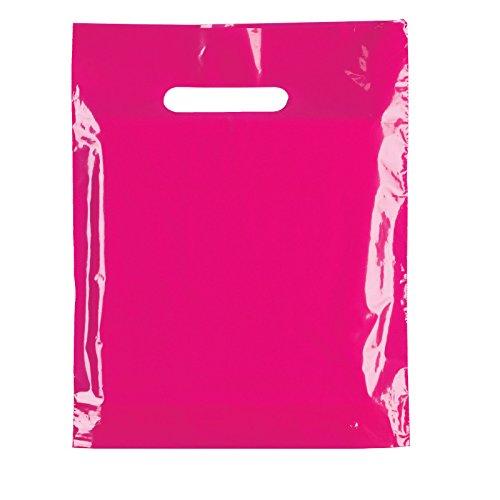 100x Kunststoff-Tragetaschen, strapazierfähig, Pink, Party, Geschenk, in 2Größen erhältlich 10'x12'(25x30cm)