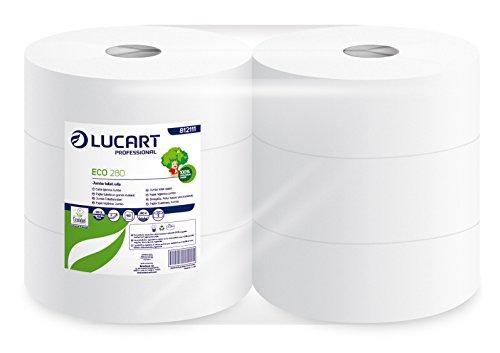 lucart-professional-812111-rouleaux-de-papier-toilette-jumbo-eco-280-m-blanc-pack-de-6