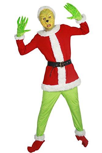 Kostüme Halloween Grinch (Grinch Kostüm Cosplay Spezial Uniform Outfit Herren Damen Kleidung für Erwachsene Christmas)