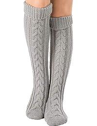 Faraw 1 par de calcetines largos más cálidos, calcetines de mujer con estiramiento alto sobre