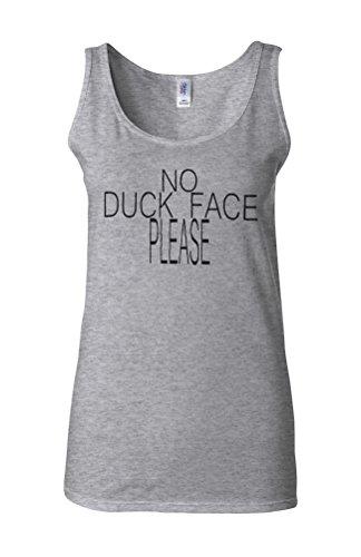 No Duck Face Please Celfie Selfie Novelty White Femme Women Tricot de Corps Tank Top Vest Gris Sportif