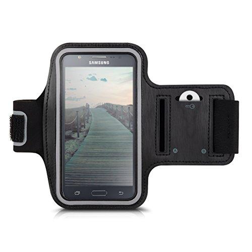Galleria fotografica kwmobile fascia da braccio sportiva per Samsung Galaxy J5 (2015) - jogging corsa borsa da sport fascia fitness con scomparto per chiavi nella fascia da braccio in nero