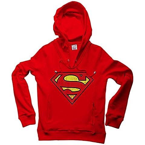 DC Comics - Superman Logo Sudadera con cuello pico y capucha - Suéter con V-Neck y capucha - Rojo - Diseño original con licencia – LOGOSHIRT