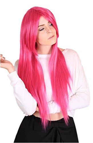 Prettyland C116-80cm Glatt Hitzefest Fasching Halloween lange Perücke Wig Hot Pink (Hot Pink Perücke Kostüm)