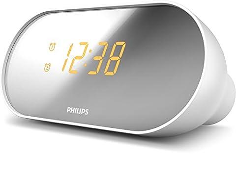 Philips AJ2000 Radio Réveil avec Radio FM, Double Alarme, Luminosité Réglable, Batterie de Secours, Gris et Blanc