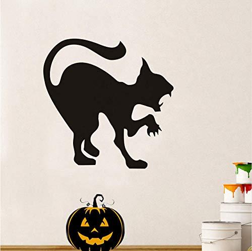Scary Black Cat Halloween Party Aufkleber Moderne Wandaufkleber Für Kinderzimmer Wohnzimmer Wohnkultur Wasserdicht Zubehör Tapete 44x44 cm (Gute Für Teenager-halloween-party Eine Spiele)