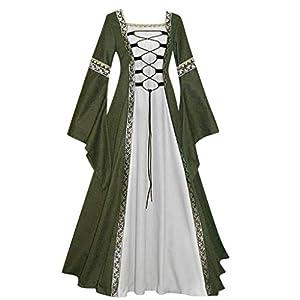 EUZeo Damen Vintage Mittelalter Bodenlangen Renaissance Gothic Cosplay Kleid Retro Abendkleider Cocktailkleid Festlich Partykleid Ballkleid