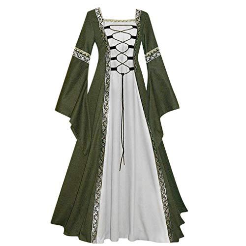 Damen Langarm Mittelalter Kleid Gothic Retro Kleid Renaissance Cosplay Kostüm Prinzessin Kleid Lange Abendkleid Gebunden Taille Maxikleid Übergröße Kleid Weihnachts Karneval Party (XL, D-Grün)