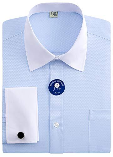 J.VER Herren Französische Manschette Normale Passform Business Hemden Lange Ärmel Manschettenknöpfe aus Metall Geschäft - Farbe:Kontrast Blau, Größe:DE 44 - Ärmellänge 89 cm -