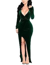 ZLL Moulante Robe Femme Soirée / Cocktail Grandes Tailles Sexy,Couleur Pleine V Profond Maxi Manches Longues Polyester SpandexPrintemps , s