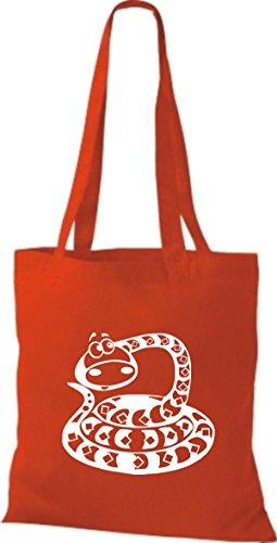 Shirtstown Pochette en tissu Animaux Serpent Snake rouge