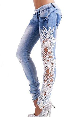 Le Donne Sexy Con Mosaico Jeans Attillati, Pantaloni Jeans Leggings Pantaloni LightBlue