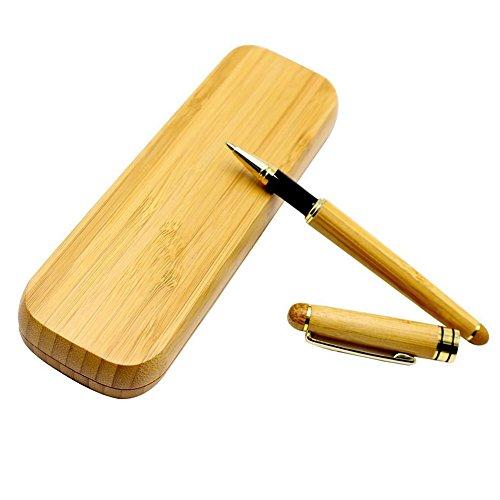 Buwant Kugelschreiber Handarbeit natürlicher Bambus mit passendem Bambus Etui