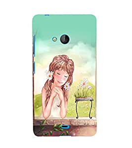 Fuson 3D Printed Girly Designer back case cover for Microsoft Lumia 540 - D4322