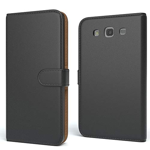 r Samsung Galaxy S3 / S3 Neo Schutzhülle mit Standfunktion Klapphülle im Bookstyle, Handytasche Handyhülle Flip Cover mit Magnetverschluss und Kartenfach, Kunstleder, Schwarz ()