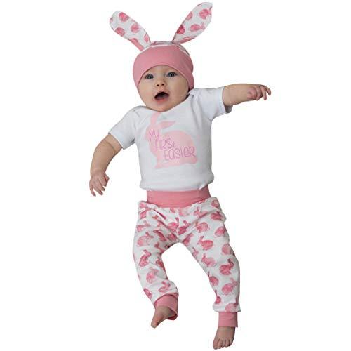 Lazzgirl Neugeborenes Baby-Jungen-Karikatur-erstes Ostern-Häschen 3D Outfits Strampler-Hut-Hosen ()