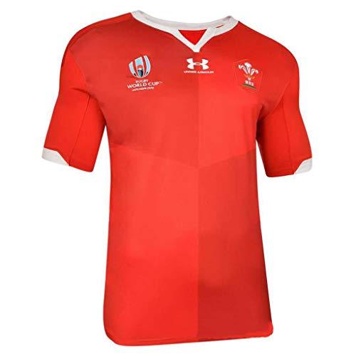 Ghuajie5hao T-Shirt per Tifosi di Rugby Calcio Sport Manica Corta Attrezzature per l'allenamento Abbigliamento Sportivo Coppa del Mondo di Galles Maglie da Rugby,Rosso,XXL