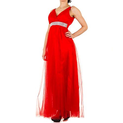 Damen Kleid Tanzkleid Ballkleid Abendkleid Strass Maxikleid Rot (Kimono Girl Kostüm Hell)