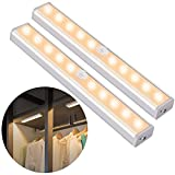OUSFOT Cupboard Light Motion Sensor, 10-LED Closet Lights Wireless USB Rechargeable with Magnetic Strips Stick up Cabinet Wardrobe Stairs Kitchen Wall Warm White(2 Pack)