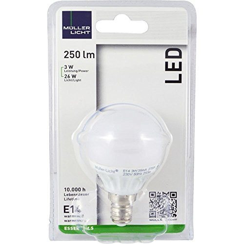 2er Set MÜLLER-LICHT LED MiniGlobe 3 Watt (25 Watt Ersatz) / E14 / 250 Lumen / 180° / 2700 Kelvin / Energieeffizienzklasse A++ / 58002 - 2