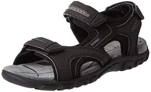 Geox uomo strada d, sandali punta aperta, (black/stone c9310), 40 eu