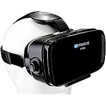 Casque VR VR-PRIMUS VA4s | Pour Smartphone 's p.ex. iPhone,Samsung Galaxy,HTC,Sony,LG,Huawei | Ajustable,Google Cardboard QR,Bouton de contrôle,Grandes lentilles | Lunettes VR RV pour téléphone | noir