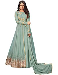 Viha Women's Heavy Net Embroidered Semi-stitched Anarkali Salwar Suit
