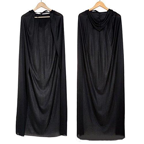 Schwarz Kapuzenumhang Halloween Kostüme Erwachsene Tod Reaper Dämon 1.7M (Dämonen Kostüme)