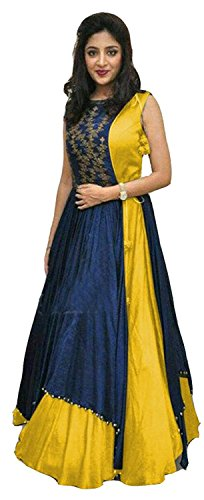 Mira Creation Women's Taffeta Silk Yellow & Blue Embroidery Two Peice Salwar Suit (Size : Free)