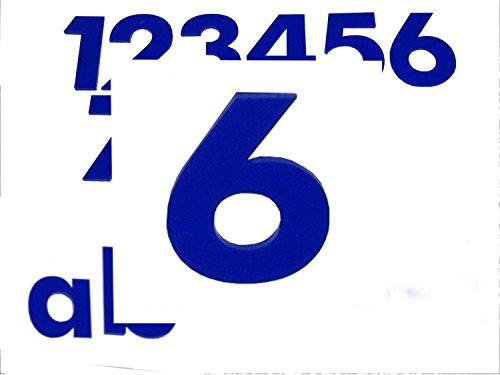 Hausnummer 6 BLAU - HÖHE: 65mm, 3mm dick (KEINE dünne Folie), witterungsbeständig, schönes Design und sehr einfache Montage (kleben statt bohren) HAUSNUMMERN, NUMMER, ZAHL für Haustür, Tür, Briefkasten u. Sprechanlage in BLAU aus PLEXIGLAS -