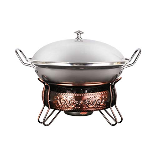 wa8a Chafing Dish Stainless Steel Hotpot Set Liquid Alcohol Stove Heater Buffet Server Warmer 22cm