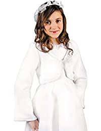 MGT-Shop Mädchen Kommunionbolero Kommunionsbolero Kommunionsjacke Kommunionjacke Cape Bolero Jacke MK-48 weiß