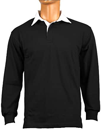 Front Row Classic Rugby Shirt (Colour: Black, Size: 3XL)