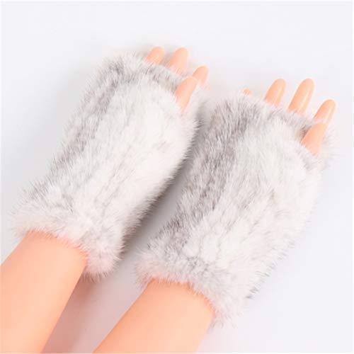A maglia pelliccia guanti senza dita Guanti invernali per le signore freddo meteo Guanti cross mink fur One Siz