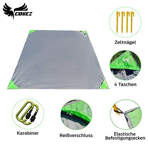 Picknickdecke wasserdicht + sandfrei + windfest   200x200 cm XXL   Stranddecke für 4-6 Personen   Ultraleichte multifunktionale Campingdecke   inkl. 2 Karabiner + 4 Befestigungsecken mit Zeltnägeln
