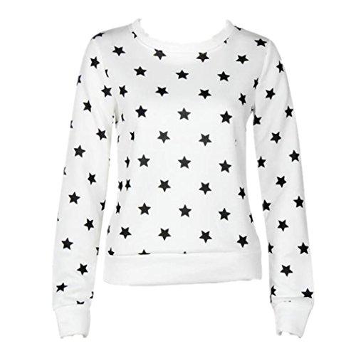 Vovotrade ❤❤Heiß !!!Frauen lange Hülsen Stern Druck Sweatshirt O-Ausschnitt Baumwolle Weiß