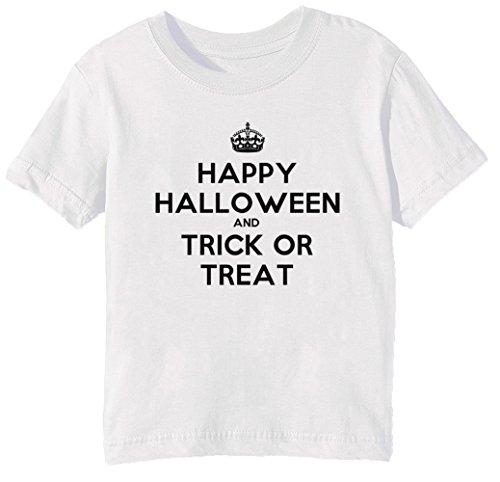 Happy Halloween And Trick Or Treat Kinder Unisex Jungen Mädchen T-Shirt Rundhals Weiß Kurzarm Größe M Kids Boys Girls White Medium Size M